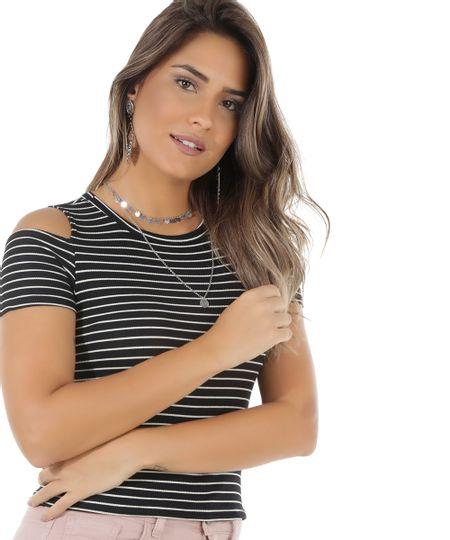 Blusa Open Shoulder Listrada Preta