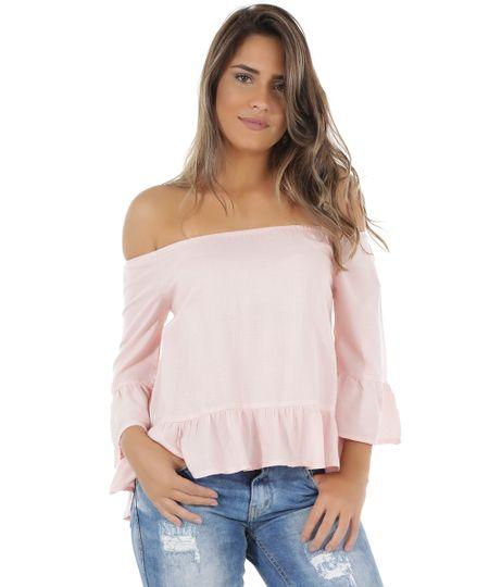 Blusa Ombro a Ombro Texturizada Rosa Claro
