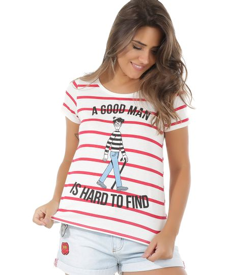 Blusa Listrada Onde Está Wally? Off White