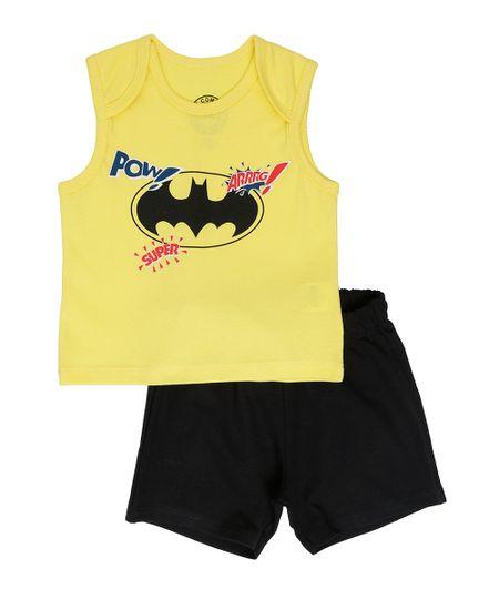 Conjunto Batman de Regata Amarela + Bermuda Preta