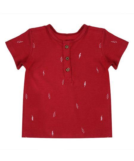 Camiseta Estampada de Raios Vermelha