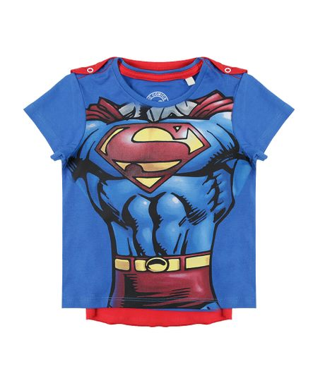 Camiseta Super Homem com Capa Azul