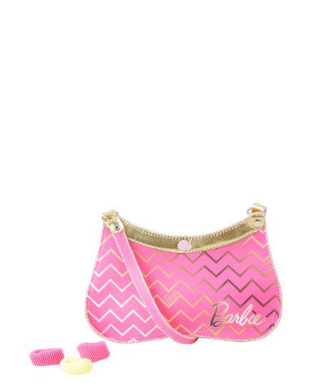 Bolsa Barbie com Elástico de Cabelo Rosa