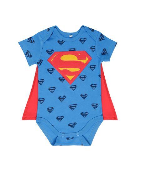 Body Estampado Super Homem com Capa em Algodão + Sustentável Azul