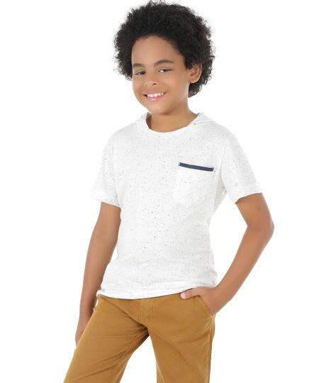 Camiseta Botonê com Capuz Off White