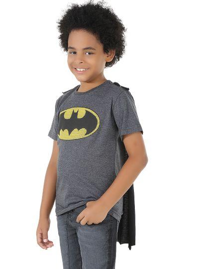Camiseta Batman com Capa Cinza Mescla Escuro