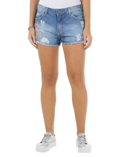 Short Jeans com Bordado Azul Médio