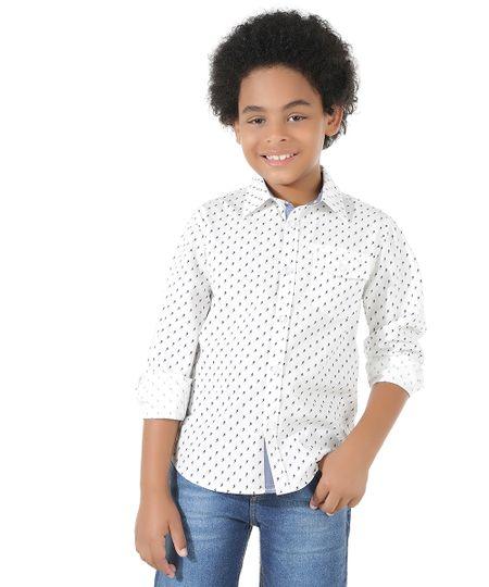 Camisa Estampada de Raios Branca