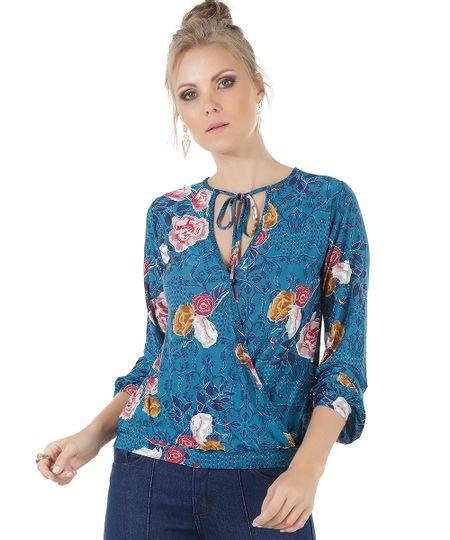 Blusa Estampada Floral Azul Petróleo