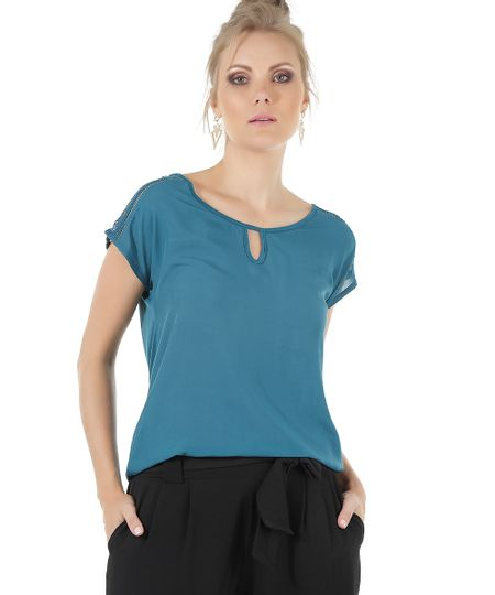 Blusa com Renda Azul petróleo