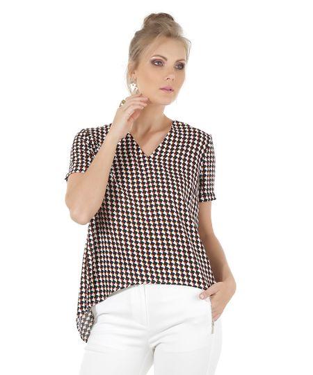 Blusa Estampada Geométrica Preta