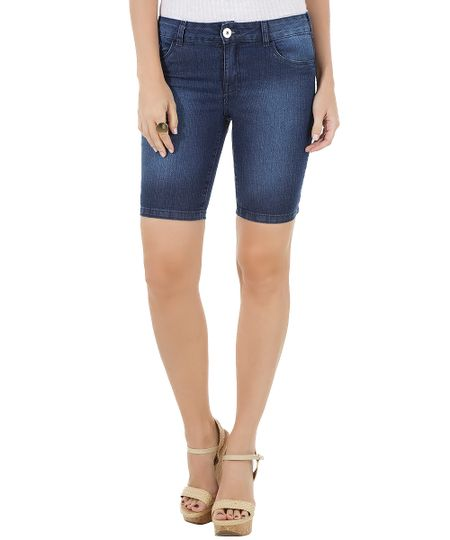 Bermuda Jeans Ciclista Azul Escuro