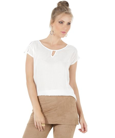 Blusa com Renda Off White