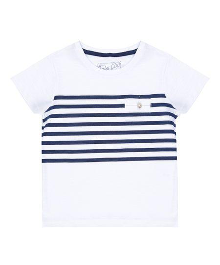 Camiseta com Listras Branca
