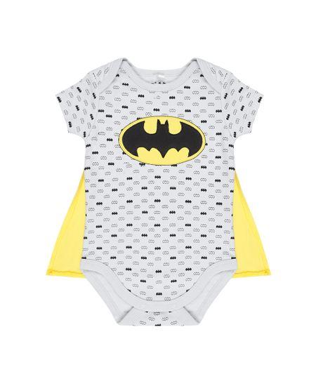 Body Estampado Batman com Capa em Algodão + Sustentável Cinza Claro