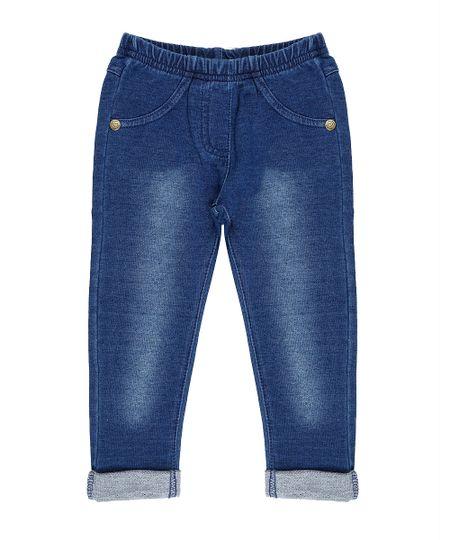 Calça Jeans em Moletom Azul Médio