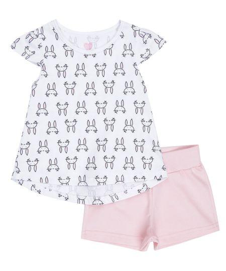 Conjunto de Blusa Estampada Off White + Short Rosa Claro