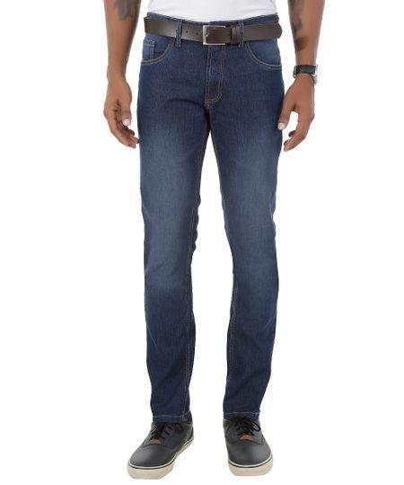 Calça Jeans Slim com Cinto Azul Médio