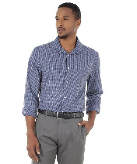 Camisa Social Comfort Xadrez Azul Marinho