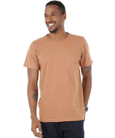 Camiseta Flamê com Bolso Caramelo