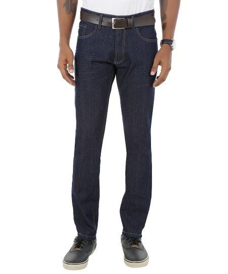 Calça Jeans Slim com Cinto Azul Escuro