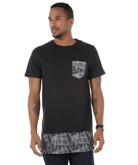 Camiseta Longa com Estampa Preta