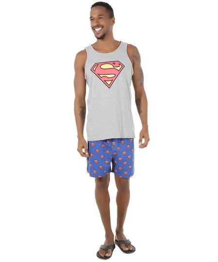 Pijama Super Homem Cinza Mescla