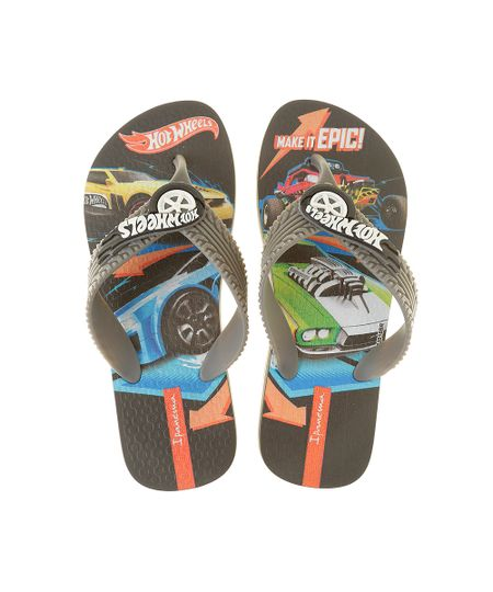 Chinelo Grendene Hot Wheels Preto