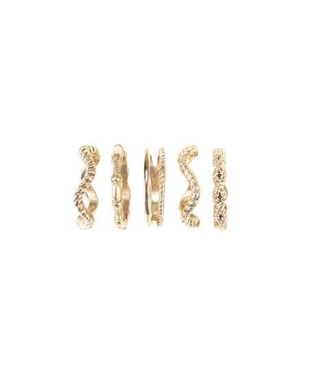 Kit de 5 Anéis Texturizados Dourado