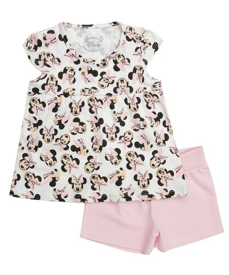 Conjunto Minnie de Blusa Off White + Short Rosa Claro