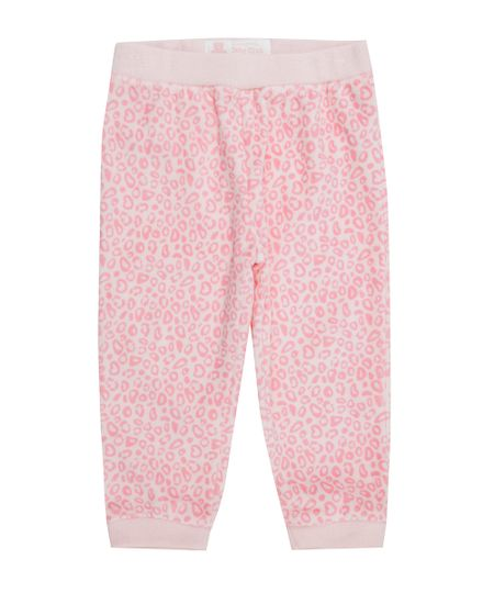 Calça Estampada Animal Print em Plush de Algodão + Sustentável Rosa Claro
