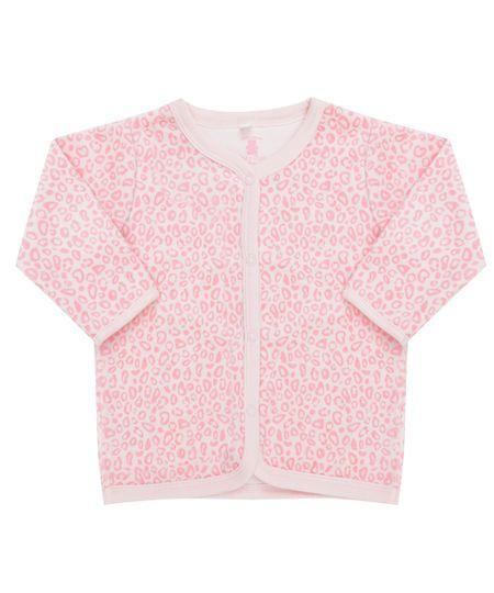 Cardigan Estampado Animal Print em Plush de Algodão + Sustentável Rosa Claro