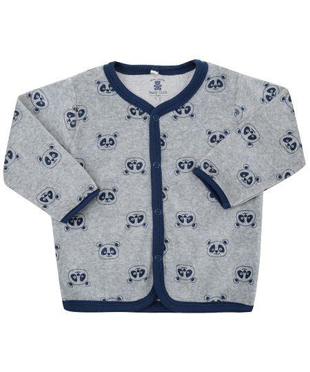 Cardigan Estampado Animal Print em Plush de Algodão + Sustentável Cinza