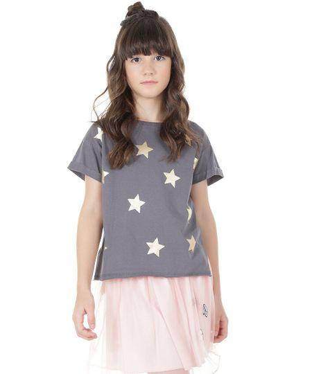 Blusa com Estampa de Estrelas Chumbo