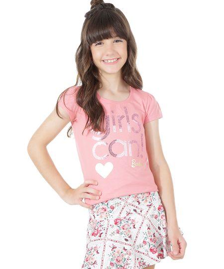 Blusa Barbie em Algodão + Sustentável com Paetês Rosa