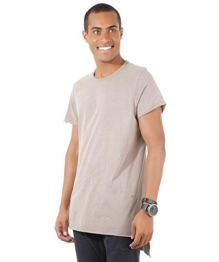 Camiseta Longa com Recortes Cinza