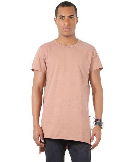 Camiseta Longa com Recortes Marrom Claro