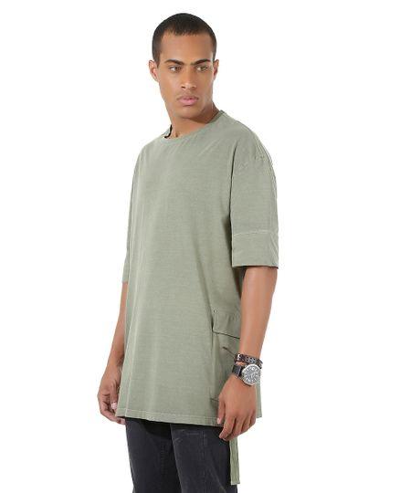 Camiseta Longa com Bolso Verde
