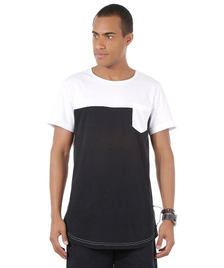 Camiseta Longa com Bolso Preta