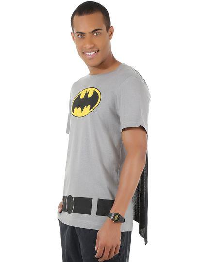 Camiseta Batman com Capa Cinza