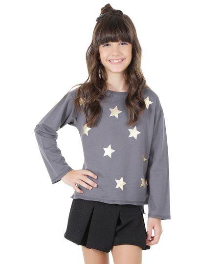 Blusa em Moletom com Estampa de Estrelas Chumbo