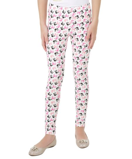Calça Legging Estampada Barbie Branca
