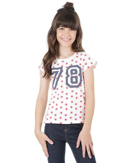 Blusa Estampa de Estrelas em Algodão + Sustentável Off White