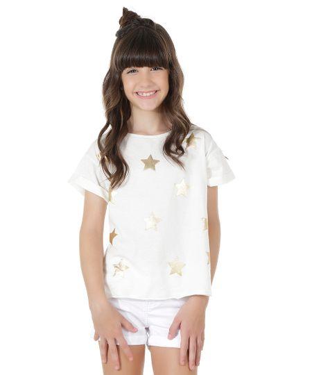 Blusa com Estampa de Estrelas Off White
