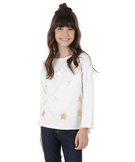 Blusa em Moletom com Estampa de Estrelas Off White