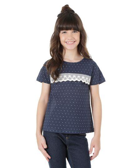 Blusa Estampada de Poás com Renda Azul Marinho