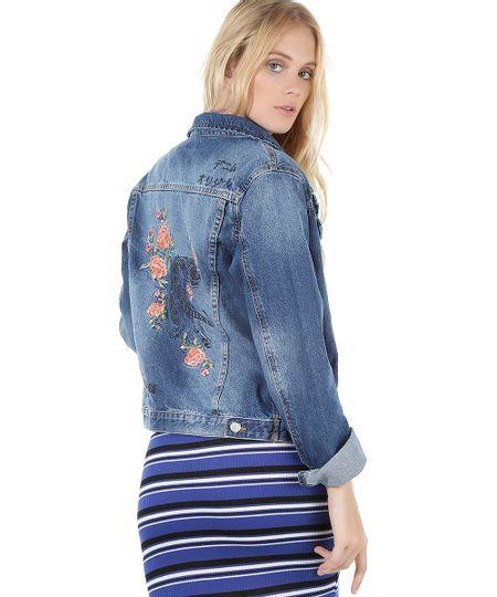Jaqueta Jeans com Bordado Azul Médio