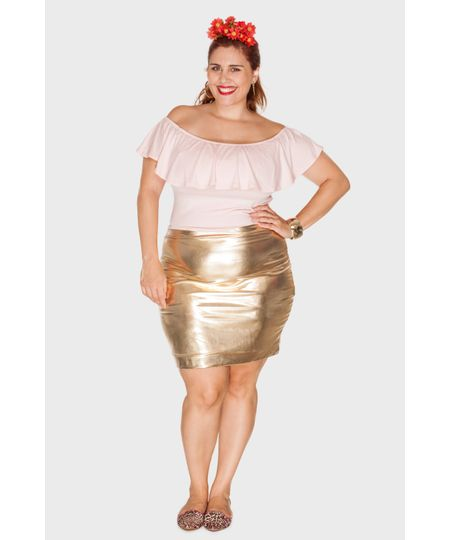 Saia Metalizada Plus Size