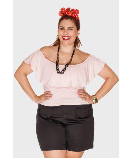 Blusa Ciganinha Rosa Plus Size