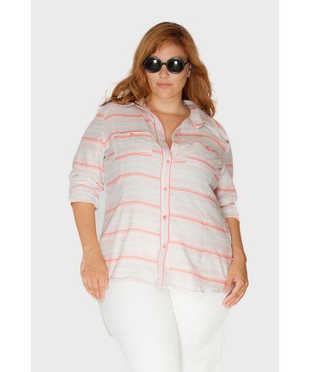 Camisa Listras Goiaba Plus Size